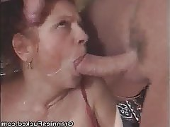 Blowjob, Cumshot, Granny, Mature, Threesome